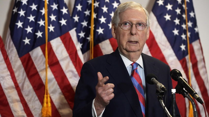 In this May 12, 2020, file photo, Senate Majority Leader Mitch McConnell, R-Ky., speaks to members of the press after the weekly Senate Republican Policy Luncheon at Hart Senate Office Building on Capitol Hill in Washington.