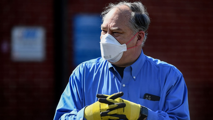 Montgomery County Executive Marc Elrich at the Vehicle Emissions Inspection Program Station in White Oak to discuss the COVID-19 drive thru testing site April 7, 2020.