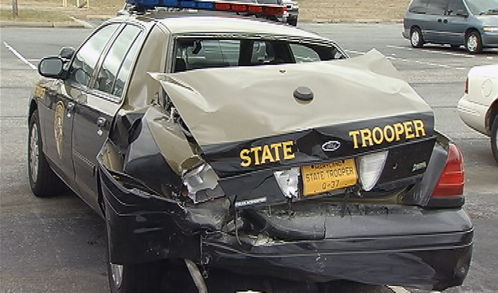 Maryland State Police Cruiser Struck 030113