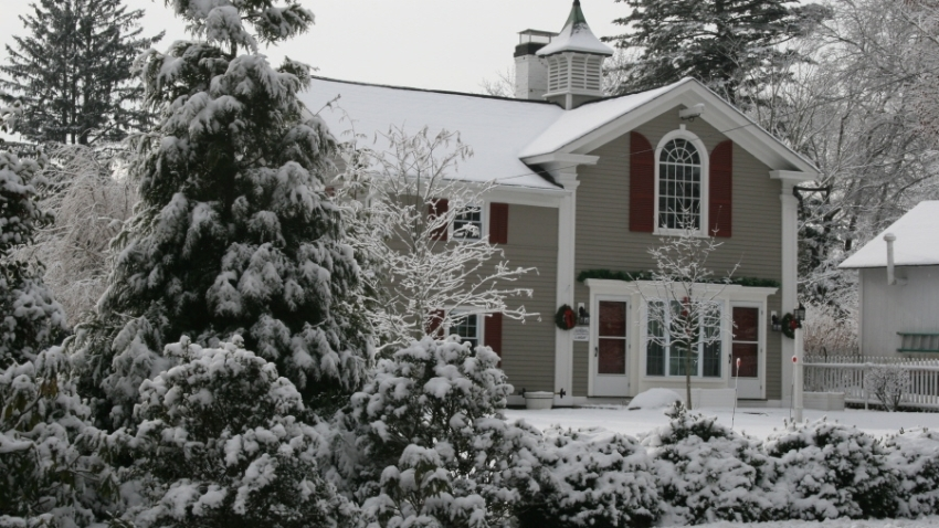 Mystic house in snow