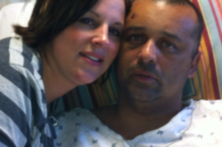 Officer Peter Laboy and wife at hospital