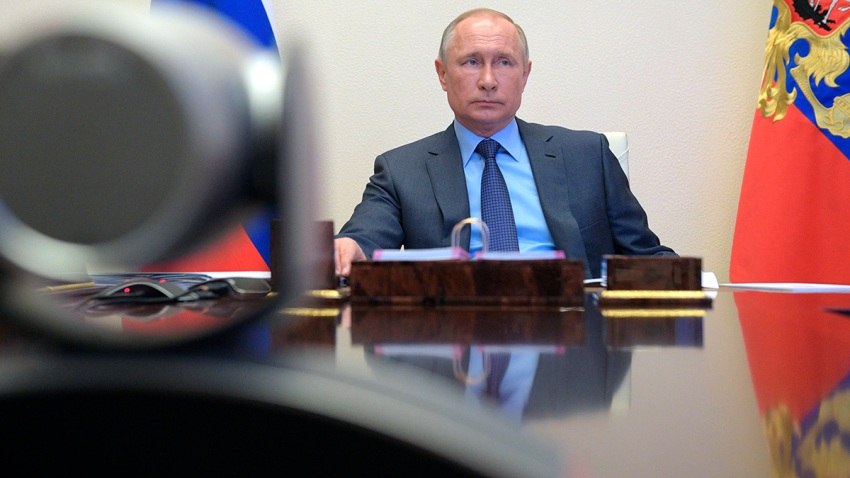 Russian President Vladimir Putin attends a meeting via video conference at the Novo-Ogaryovo residence outside in Moscow, Russia, April 21, 2020.