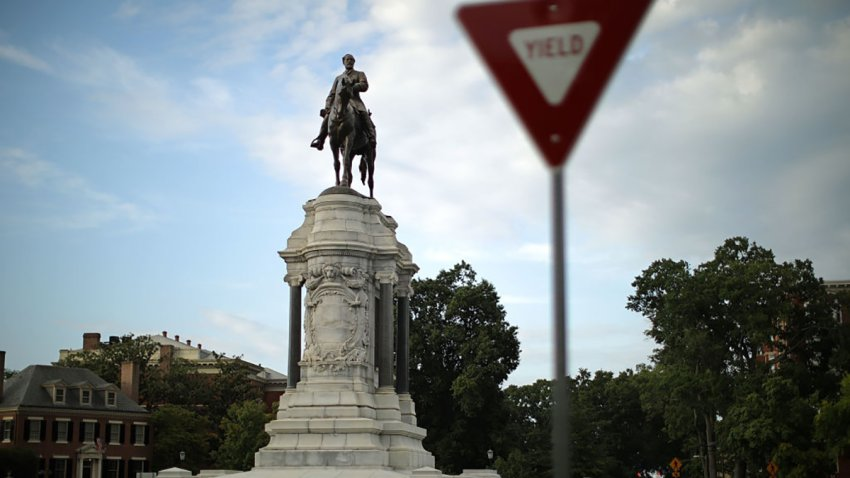 The statue of Confederate Gen. Robert E. Lee, unveiled in 1890, stands at the center of Lee Circle along Monument Avenue in Richmond, Virginia.