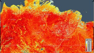 This photo taken on Friday, June 19, 2020 and provided by ECMWF Copernicus Climate Change Service shows the land surface temperature in the Siberia region of Russia.