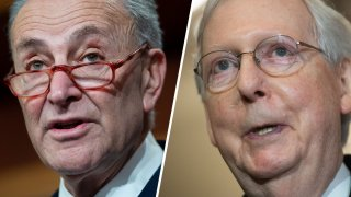 Senate Minority Leader Chuck Schumer, left, and Majority Leader Mitch McConnell.
