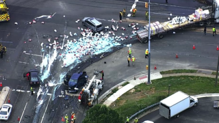 Chopper4 image of truck crash involving paint