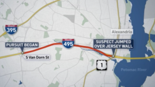 Northern Virginia car chase map