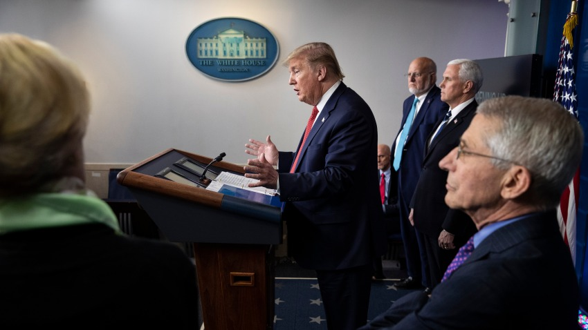 In this file photo, President Donald Trump speaks about the coronavirus accompanied by Dr. Deborah Birx, White House coronavirus response coordinator, left, Centers for Disease Control and Prevention Director Dr. Robert Redfield, Vice President Mike Pence, and Dr. Anthony Fauci, director of the National Institute of Allergy and Infectious Diseases, in the James Brady Press Briefing Room of the White House, Thursday, April 16, 2020, in Washington.