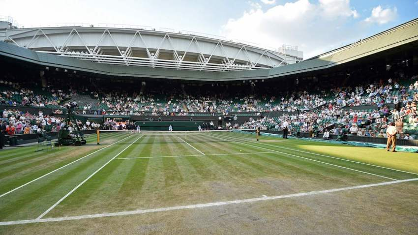 A general view of the state of the grass on centre court on the final day of the 2018 Wimbledon Championships at The All England Lawn Tennis Club in Wimbledon, southwest London, on July 15, 2018.