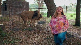 "Carole Baskin as seen in a shot of Netflix's ""Tiger King: Murder, Mayhem and Madness."""