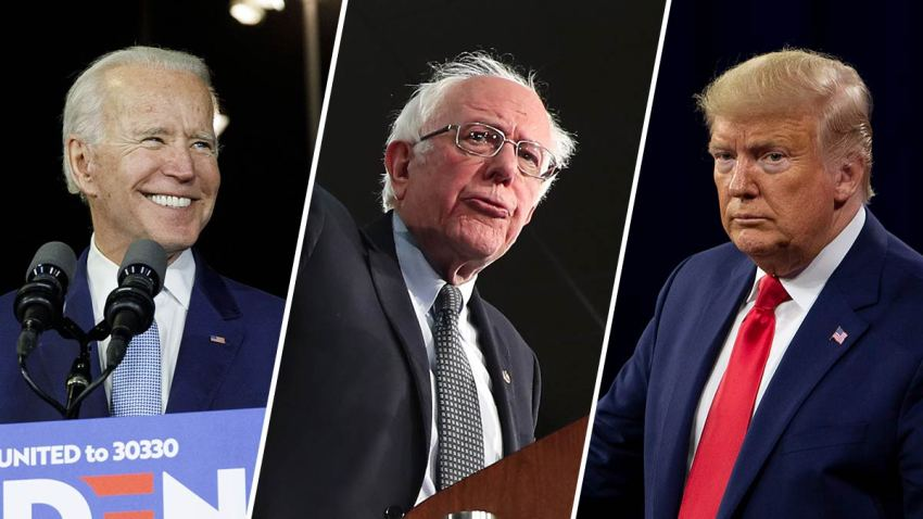 Joe Biden (left), Sen. Bernie Sanders (middle) and President Donald Trump (right).