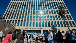 The US Embassy in Havana, Cuba, before the start of the flag raising ceremony, Friday, Aug. 14, 2015.