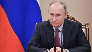 In this Dec. 27, 2019, file photo, Russia's President Vladimir Putin holds a meeting of the Russian Security Council at the Moscow Kremlin.