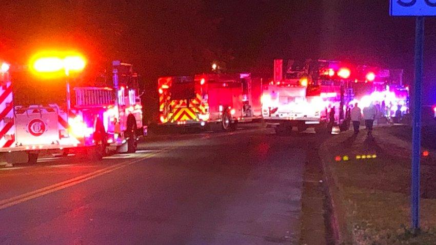 Chattanooga fire department trucks on the scene.