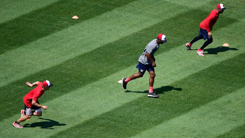Andrew Stevenson, Michael A. Taylor and Anibal Sanchez of the Washington Nationals work out during the first day of summer workouts at Nationals Park.