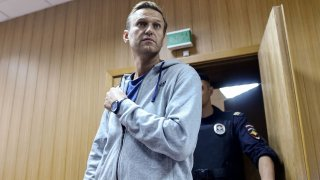 In this Aug. 27, 2018, file photo, Russian opposition leader Alexei Navalny arrives for his trial at a Moscow courthouse.