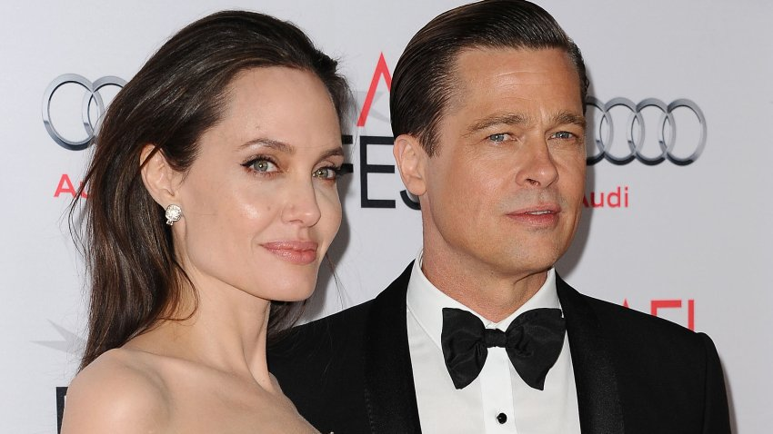 "In this file photo, Angelina Jolie and Brad Pitt attend the premiere of ""By the Sea"" at the 2015 AFI Fest at TCL Chinese 6 Theatres on November 5, 2015 in Hollywood, California."