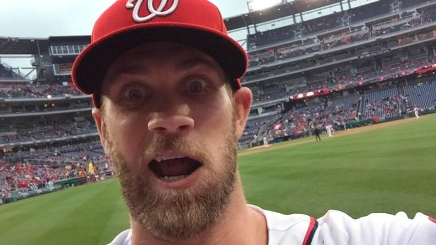 Nationals Harper Selfie Basetball