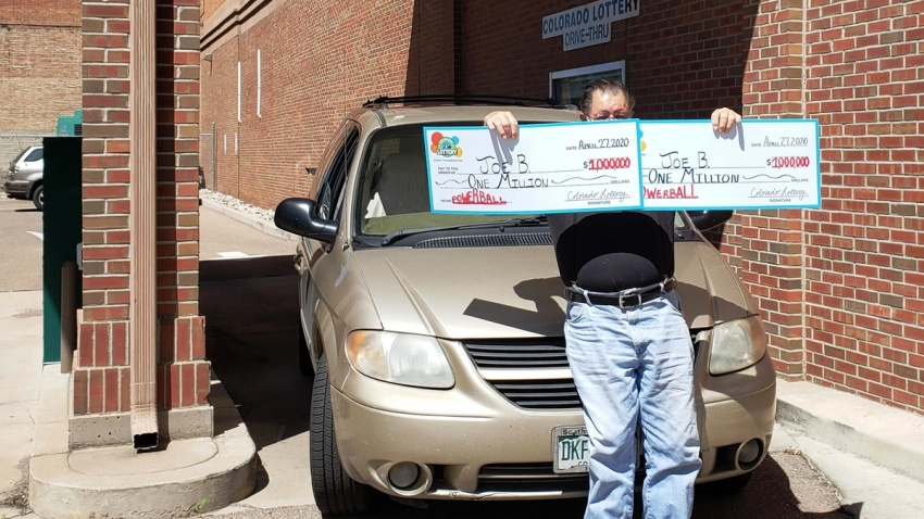 "Joe B"" from Pueblo, Colorado, claims the two $1 million Powerball prizes he won on March 25."