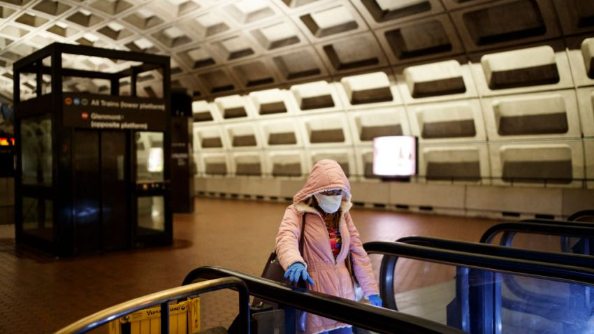 Woman in Metro station in face mask and gloves