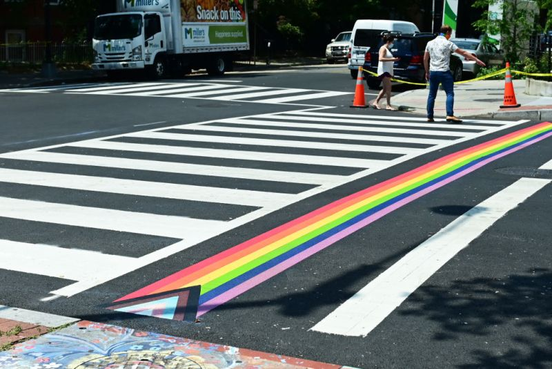 Colors of LGBT, Transgender Flags Adorn DC Crosswalks for 50th Pride Month