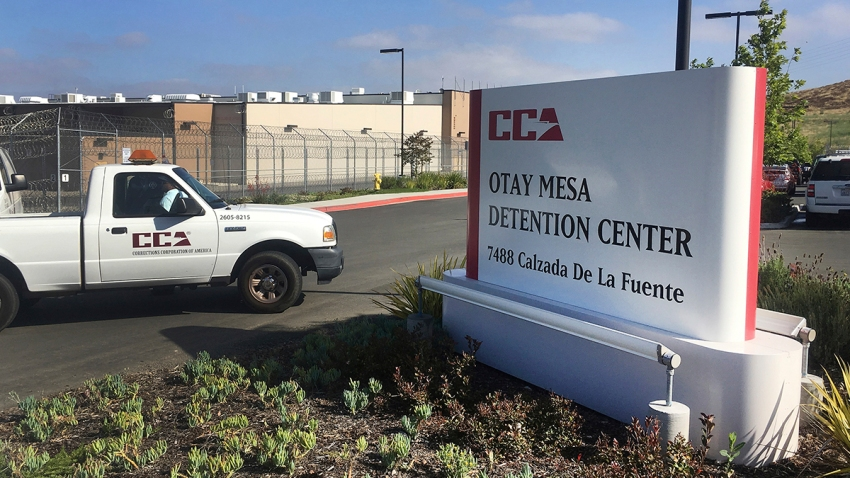 In this June 9, 2017, file photo, a vehicle drives into the Otay Mesa detention center in San Diego, Calif.
