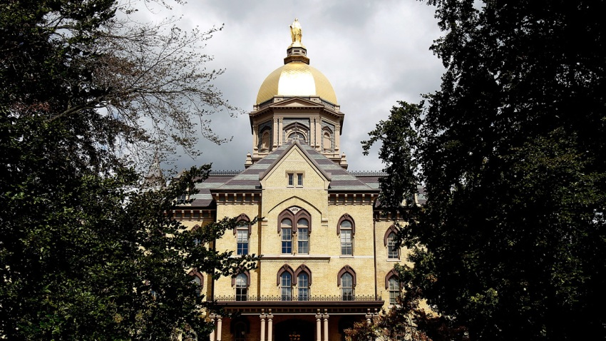 "In the Sept. 4, 2010, file photo, the ""Golden Dome"" is seen on the campus of Notre Dame University before a game between the Notre Dame Fighting Irish and the Purdue Boilermakers at Notre Dame Stadium in South Bend, Indiana."