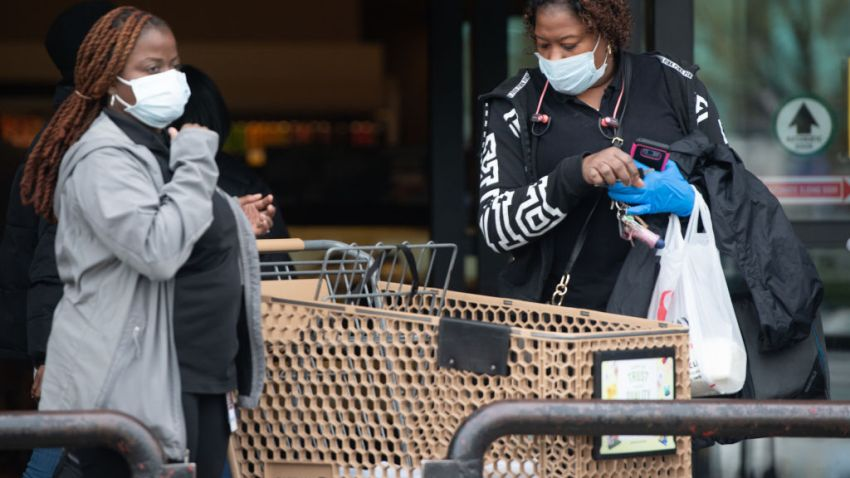 Women at grocery store with masks