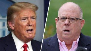 President Donald Trump, left; Maryland Governor Larry Hogan, right.