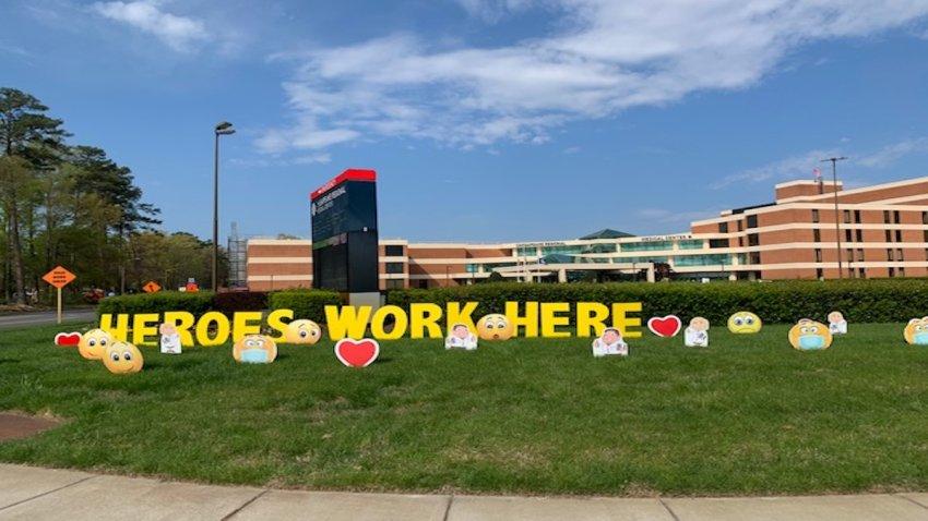 heroes work here yard sign