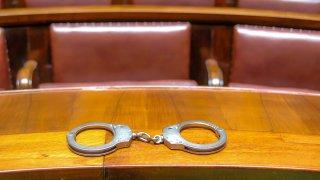 handcuffs on bench