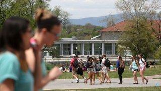 Students walking at james madison university