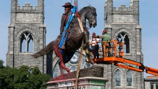 J.E.B. Stuart Monument is removed in Richmond