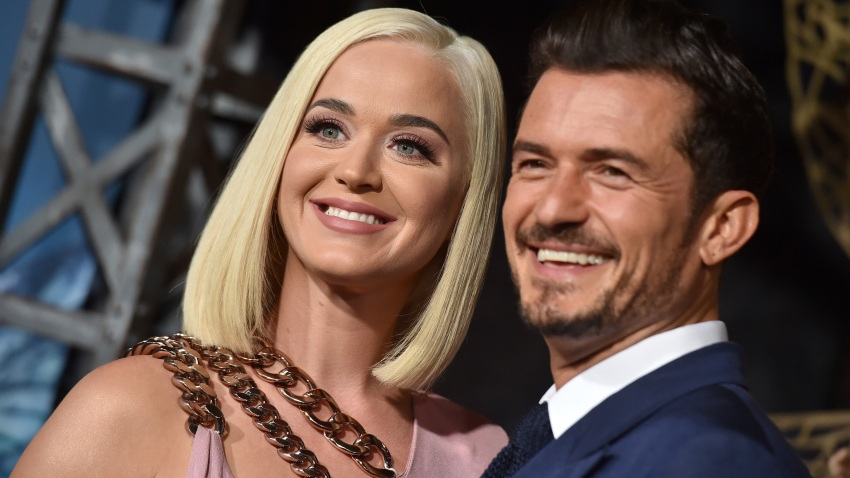 "In this Aug. 21, 2019, file photo, Katy Perry and Orlando Bloom attend the LA Premiere of Amazon's ""Carnival Row"" at TCL Chinese Theatre in Hollywood, California."