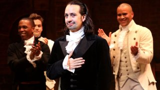 """In this July 9, 2016, file photo, Lin-Manuel Miranda performs his final performance as """"Alexander Hamilton"""" in """"Hamilton"""" on Broadway at The Richard Rogers Theatre in New York City."""