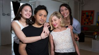 """In this file photo, ABC News' Barbara Walters interviews Mary Kay Letourneau Fualaau and husband Vili Fualaau on the eve of their 10th anniversary, sharing intimate details about their headline-making marriage. The interview aired on """"20/20"""" on the ABC Television Network."""