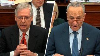 Sen. Mitch McConnell, R.-Ky., and Sen. Chuck Schumer, D.-N.Y., on Jan. 21, 2019.