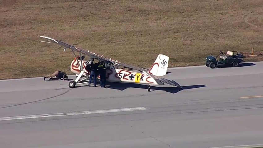 small plane painted with Nazi symbols