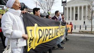 Pipeline protesters outside Supreme Court