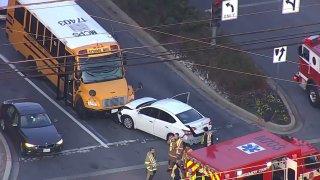 a crash involving a school bus and a car