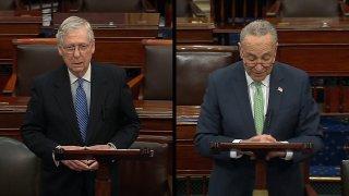 Senate Minority Leader Chuck Schumer, D-N.Y., and Senate Majority Leader Mitch McConnel, R – Ky.
