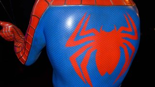 close up of a spider man costume