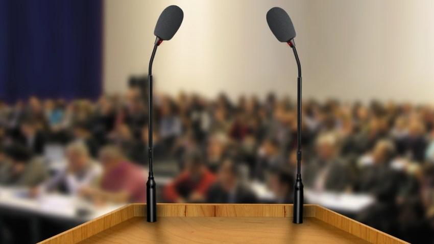 generic political debate podium