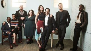 "In this Jan. 18, 2017, file photo, actors Sterling K. Brown, Susan Kelechi Watson, Chris Sullivan, Chrissy Metz, Mandy Moore, Milo Ventimiglia, Justin Hartley and Ron Cephas Jones of ""This Is Us"" pose for a portrait in the NBCUniversal Press Tour portrait studio at The Langham Huntington, Pasadena in Pasadena, California."