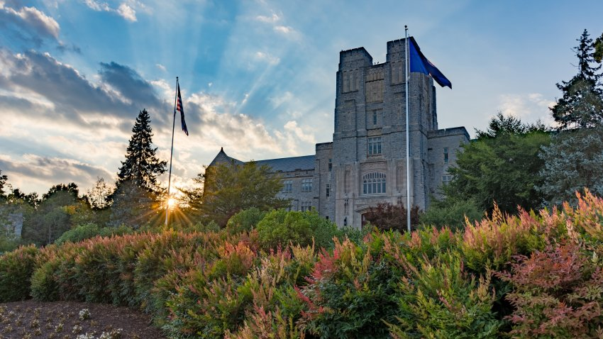 Virginia Tech campus with sunset
