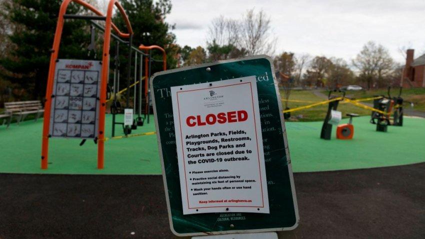 Park closed due to coronavirus in Arlington, Virginia