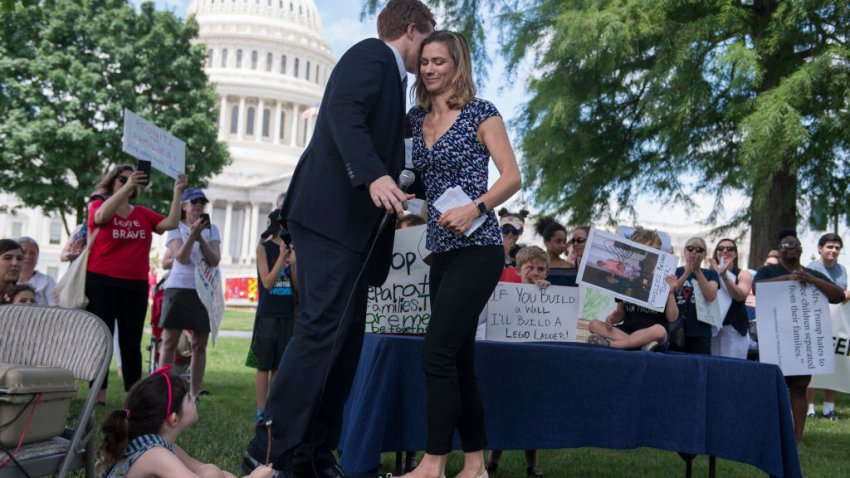 Maeve Kennedy McKean greets Rep. Joe Kennedy, D-Mass., during a rally on the East Front lawn of the Capitol to condemn the separation and detention of families at the border of the U.S. and Mexico on June 21, 2018. (Photo By Tom Williams/CQ Roll Call)