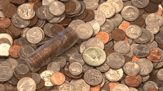 Pile of U.S. coins.