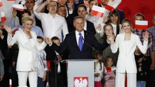 Polish President Andrzej Duda with supporters.