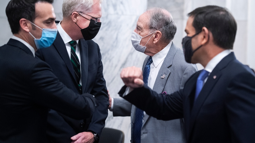 From right, Acting Chairman Marco Rubio, R-Fla., Sen. Chuck Grassley, R-Iowa, Christopher Miller, nominee to be director of National Counterterrorism Center, and Patrick Hovakimian, nominee to be general counsel of the office of the Director of National Intelligence, talk before their Senate Select Intelligence Committee confirmation hearing in Russell Building on Wednesday, July 22, 2020.